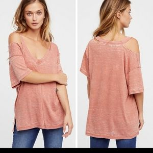 Free People Surfs Up Unique Dye Distressed Tee